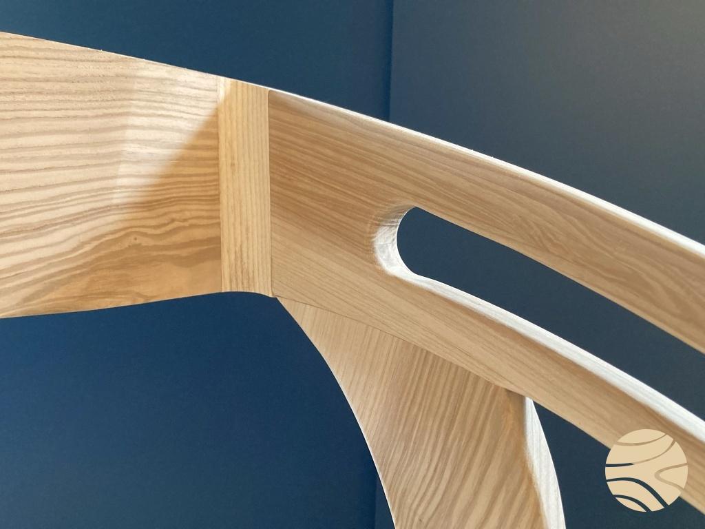 schommelstoel massief essen - detail